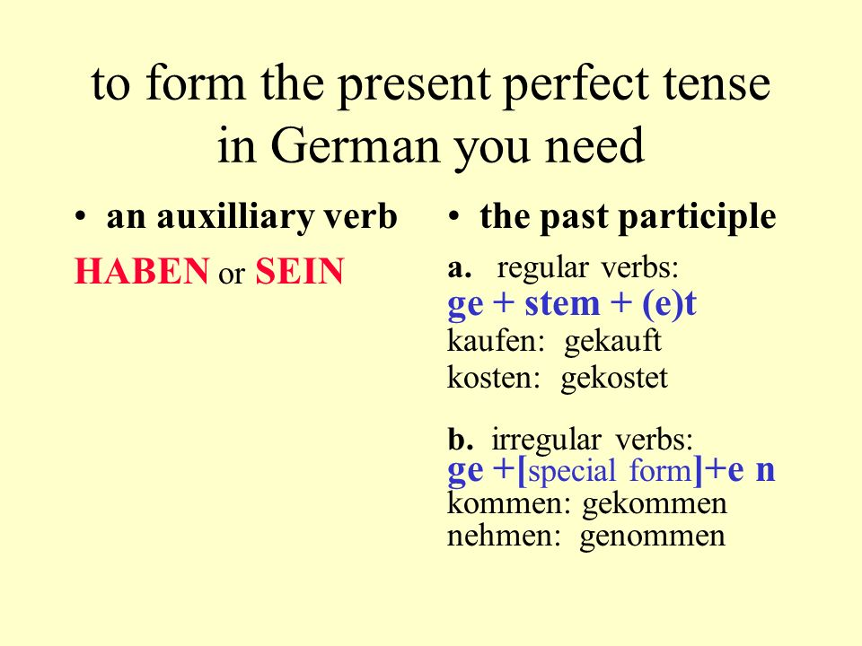 to form the present perfect tense in German you need