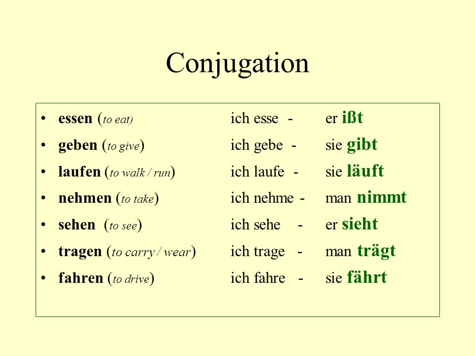 Conjugation essen (to eat) ich esse - er ißt