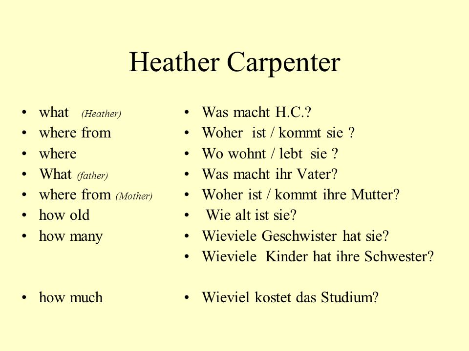 Heather Carpenter what (Heather) where from where What (father)