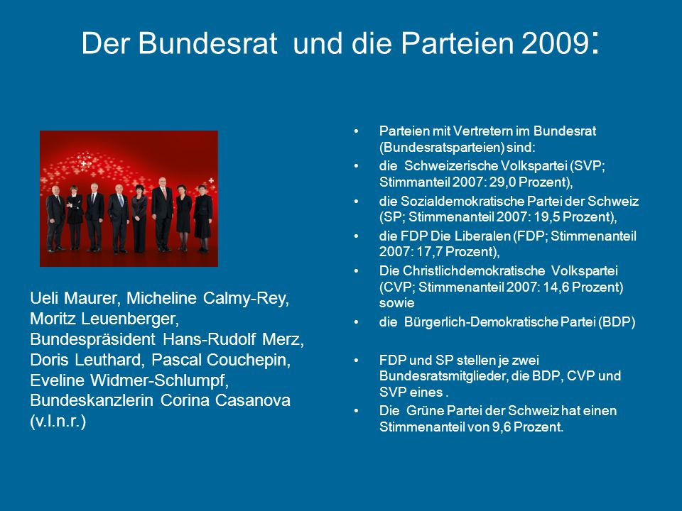 Der Bundesrat und die Parteien 2009: