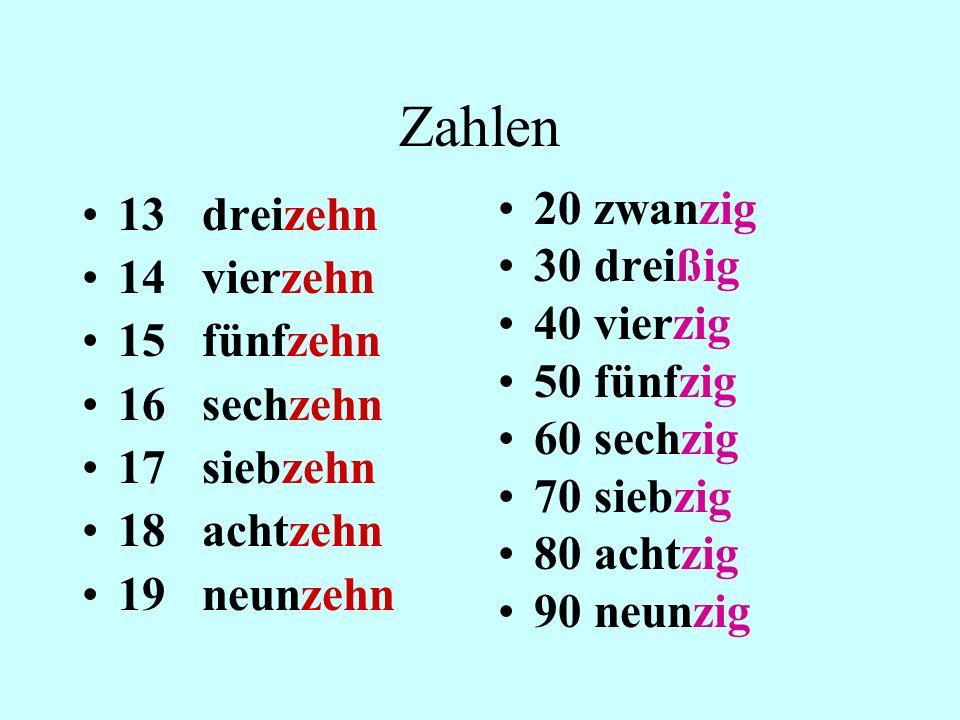 Zahlen 13 dreizehn 14 vierzehn 15 fünfzehn 16 sechzehn 17 siebzehn