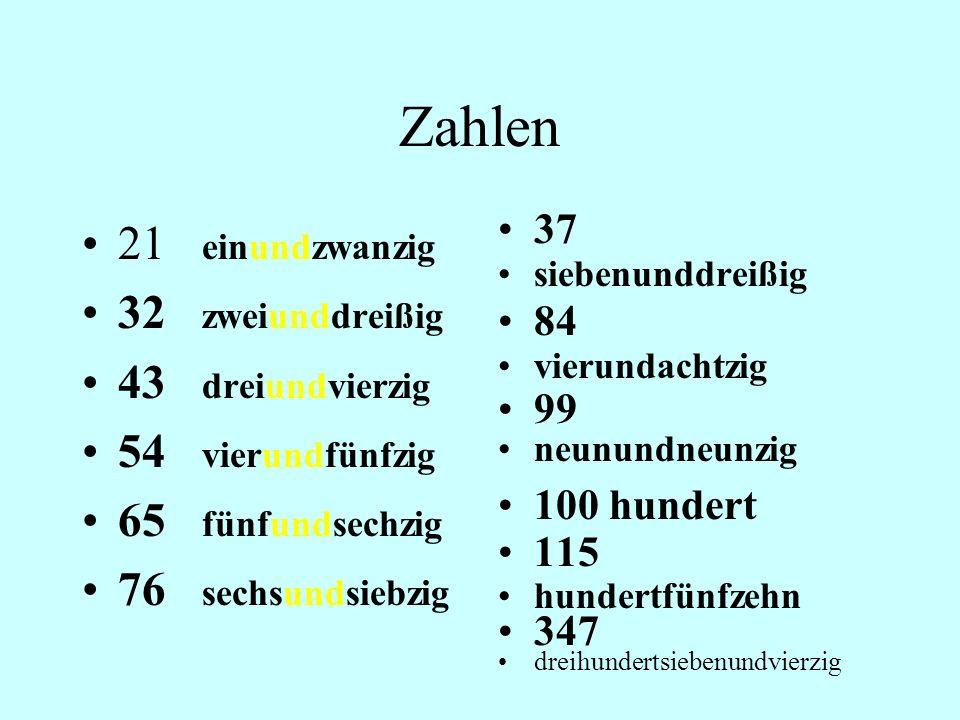 Zahlen 21 einundzwanzig 32 zweiunddreißig 43 dreiundvierzig
