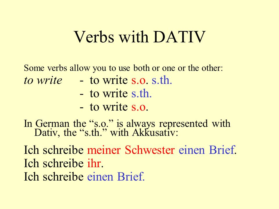 Verbs with DATIV to write - to write s.o. s.th. - to write s.th.