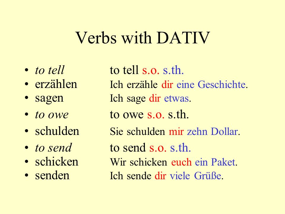 Verbs with DATIV to tell to tell s.o. s.th.