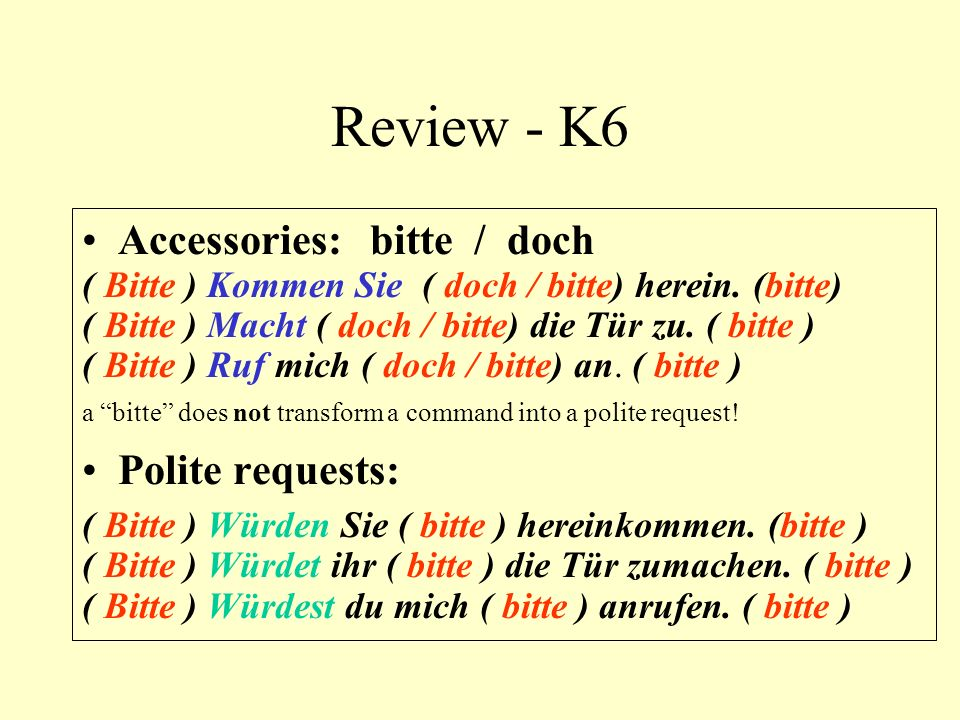 Review - K6 Accessories: bitte / doch Polite requests: