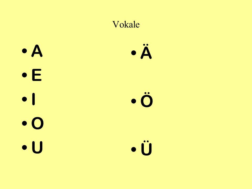 Vokale A E I O U Ä Ö Ü