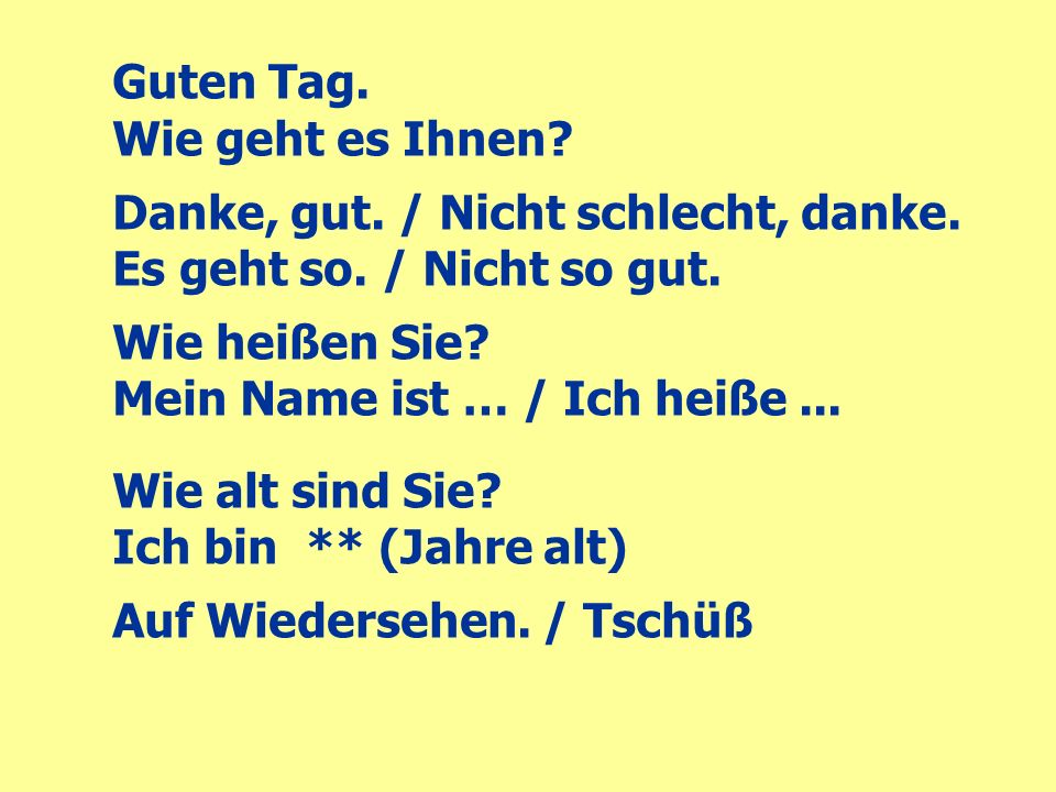 how to say guten tag wie gehts