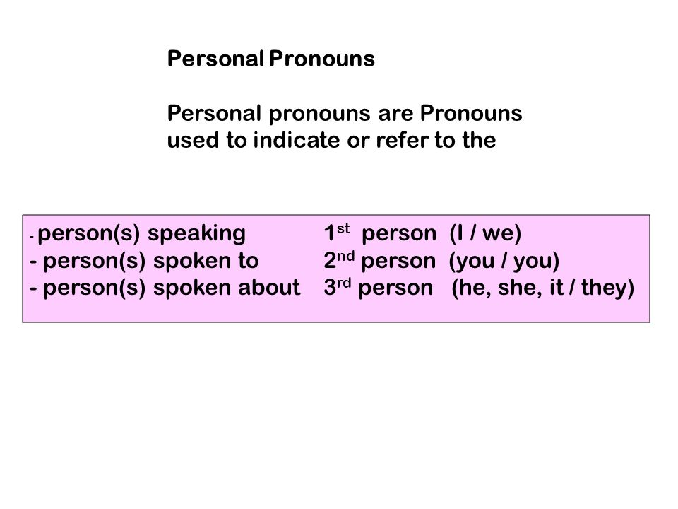 Personal pronouns are Pronouns used to indicate or refer to the