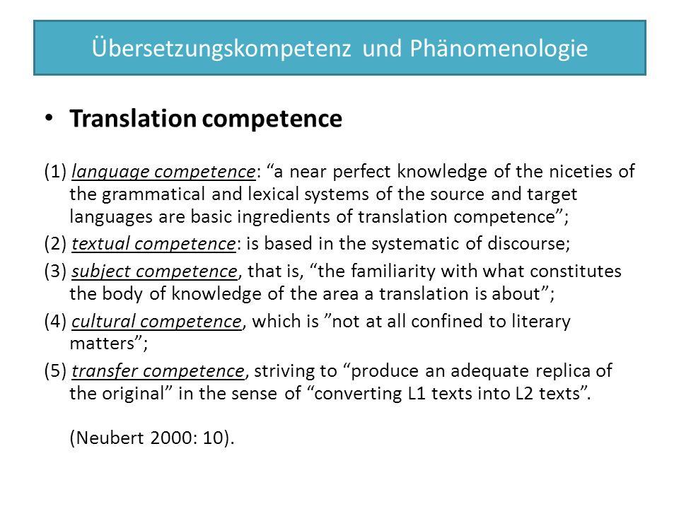 Übersetzungskompetenz und Phänomenologie