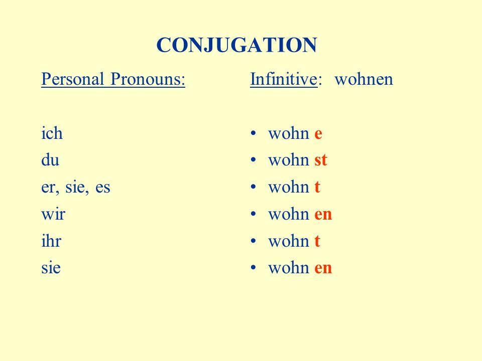 CONJUGATION Personal Pronouns: ich du er, sie, es wir ihr sie