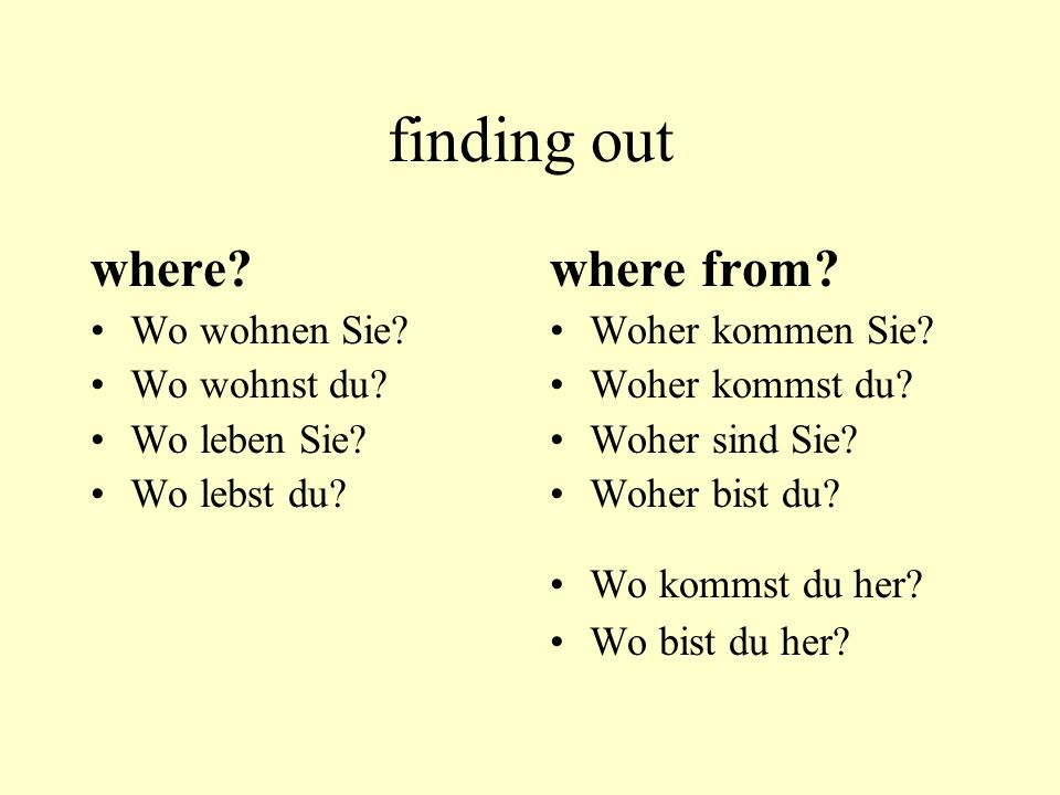 finding out where where from Wo wohnen Sie Wo wohnst du