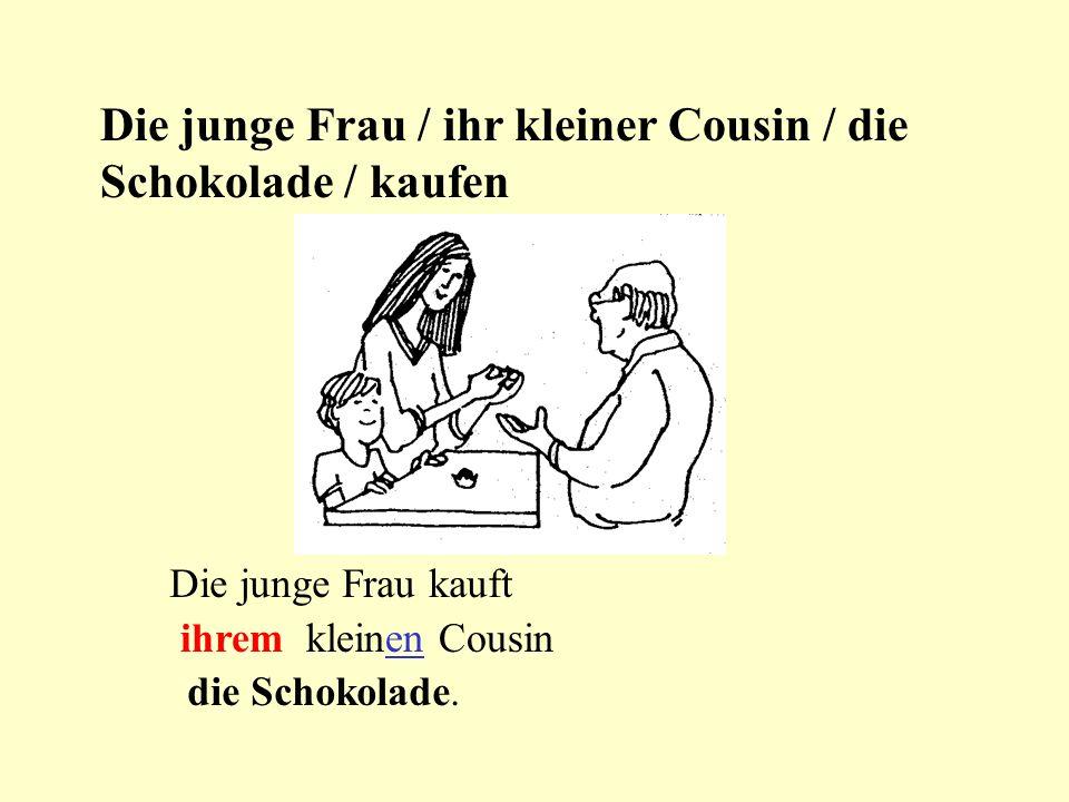 Die junge Frau / ihr kleiner Cousin / die Schokolade / kaufen