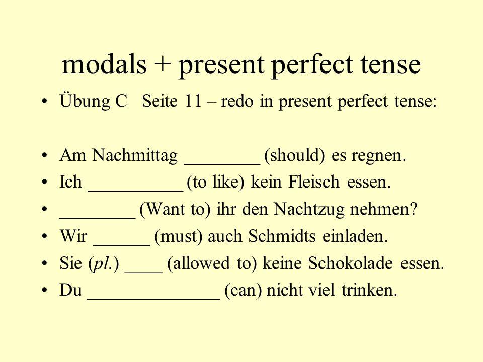 modals + present perfect tense