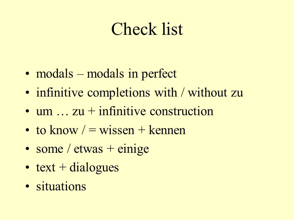 Check list modals – modals in perfect