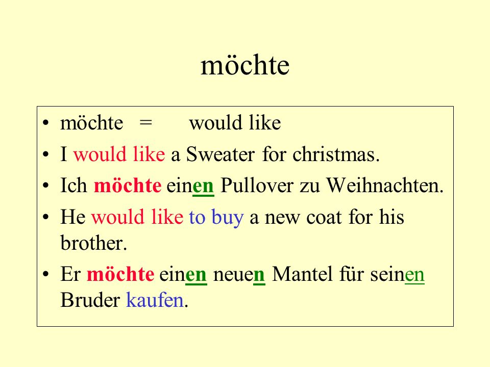 möchte möchte = would like I would like a Sweater for christmas.