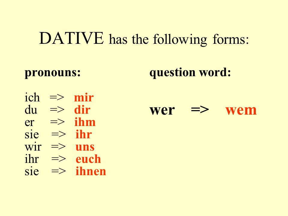 DATIVE has the following forms: