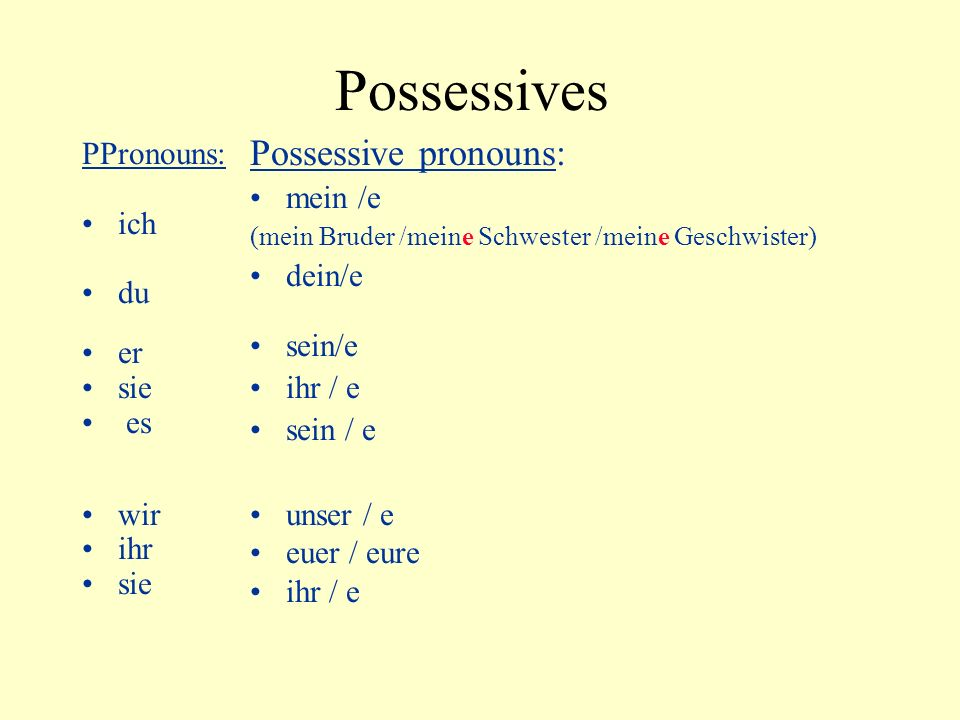 Possessives Possessive pronouns: PPronouns: mein /e ich dein/e du