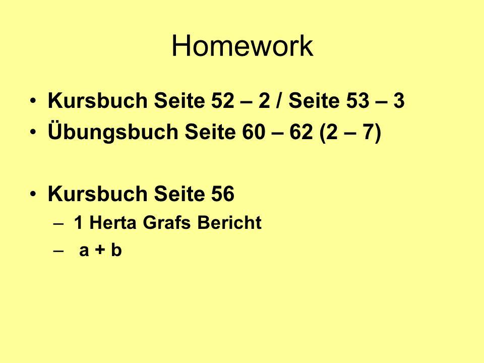 Homework Kursbuch Seite 52 – 2 / Seite 53 – 3