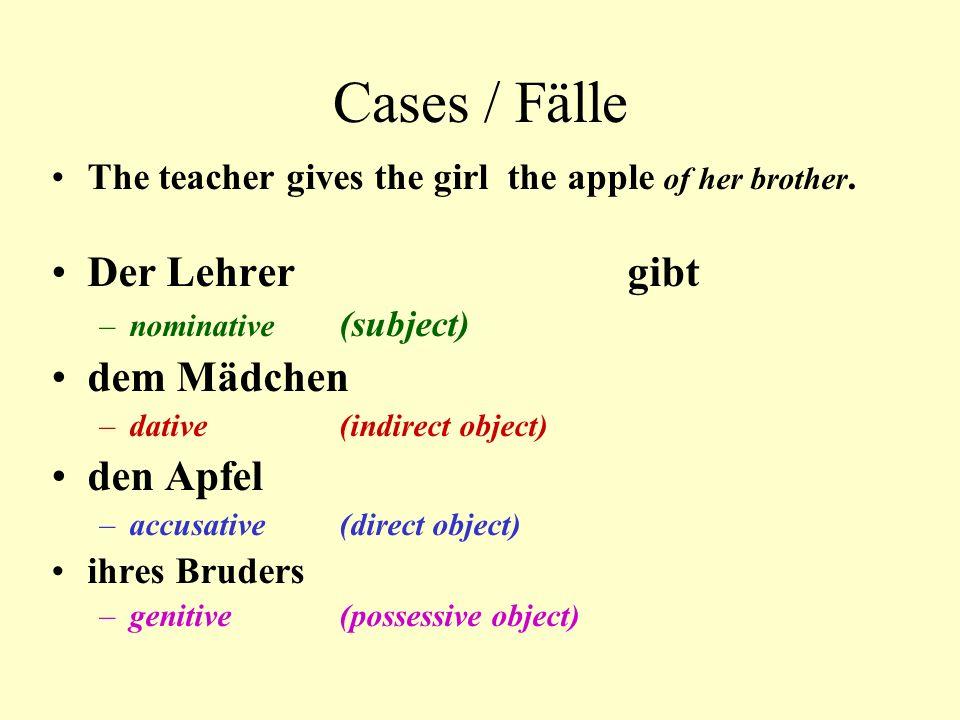 Cases / Fälle Der Lehrer gibt dem Mädchen den Apfel