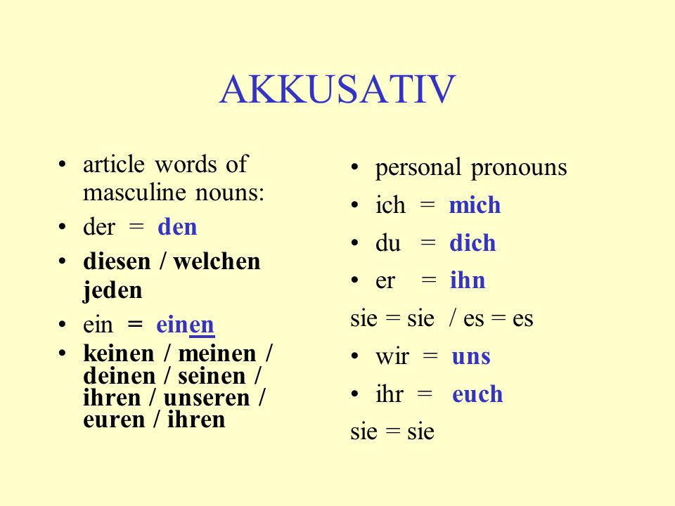 AKKUSATIV article words of masculine nouns: der = den