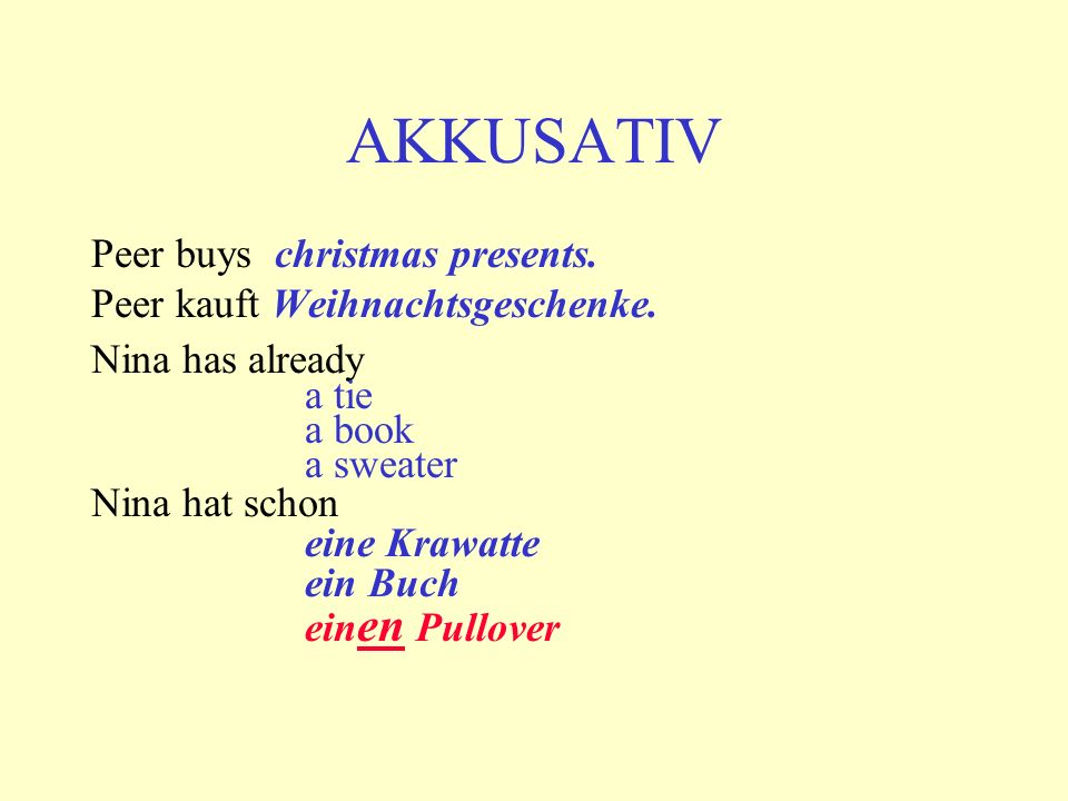 AKKUSATIV Peer buys christmas presents.