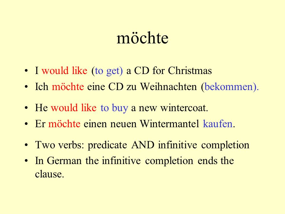 möchte I would like (to get) a CD for Christmas