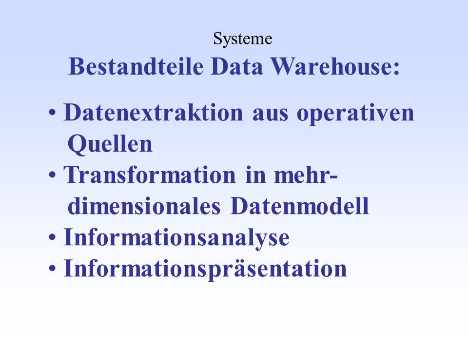 Bestandteile Data Warehouse:
