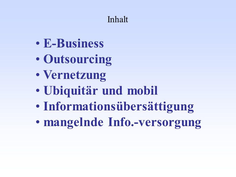 Informationsübersättigung mangelnde Info.-versorgung