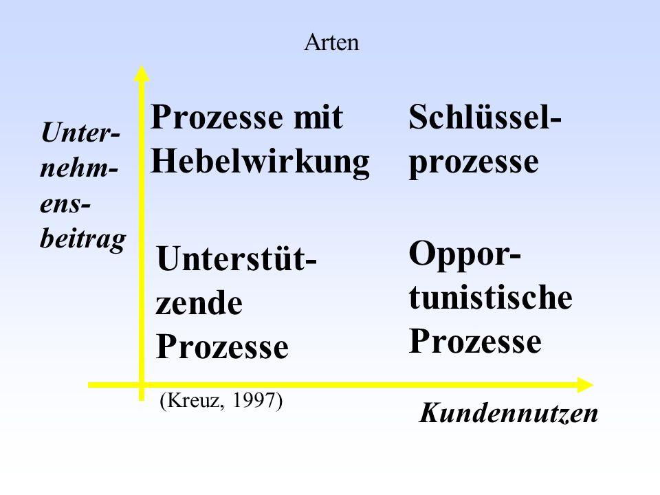 Prozesse mit Hebelwirkung Schlüssel- prozesse Oppor- tunistische