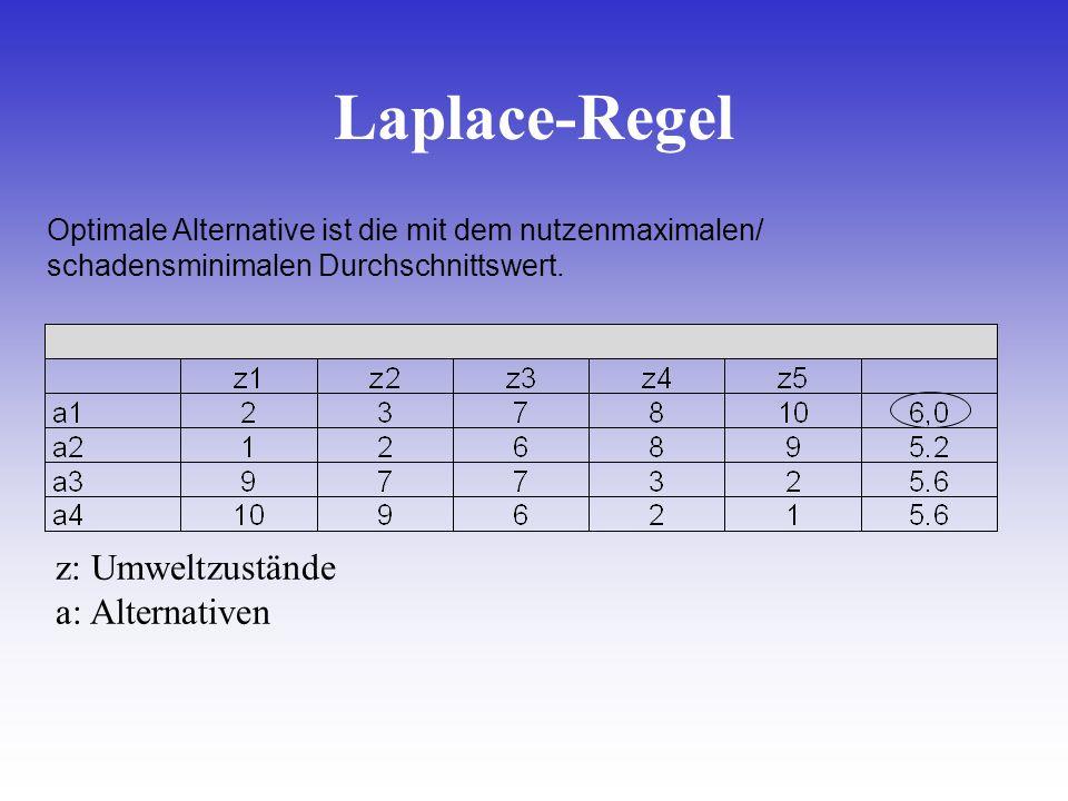 Laplace-Regel z: Umweltzustände a: Alternativen