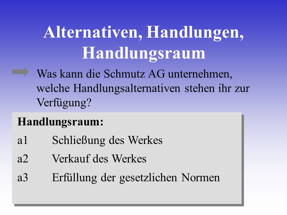 Alternativen, Handlungen, Handlungsraum