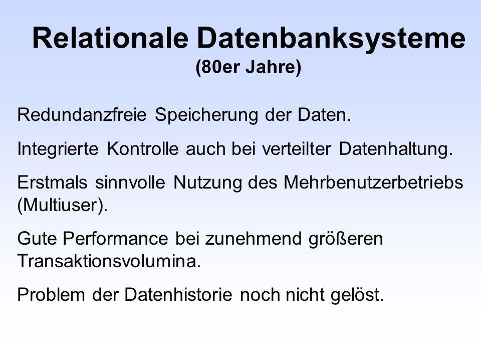 Relationale Datenbanksysteme (80er Jahre)