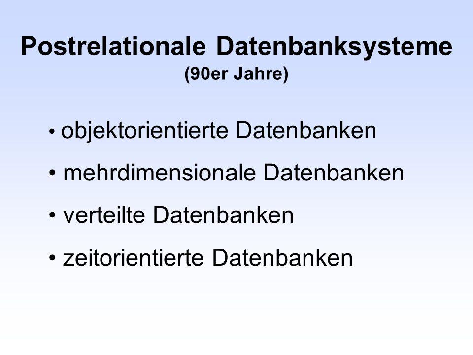 Postrelationale Datenbanksysteme (90er Jahre)