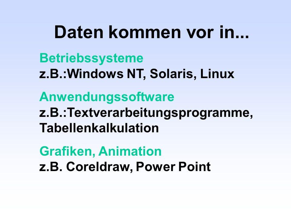 Daten kommen vor in... Betriebssysteme z.B.:Windows NT, Solaris, Linux
