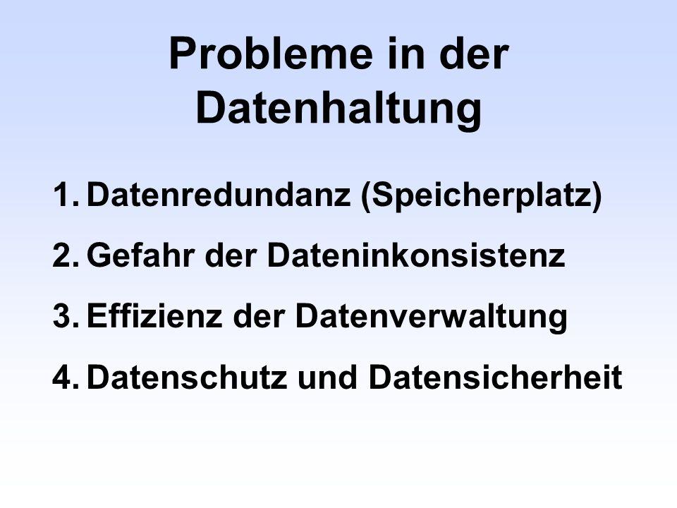 Probleme in der Datenhaltung