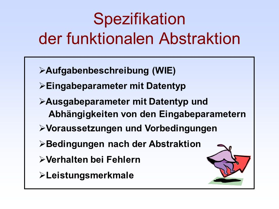 Spezifikation der funktionalen Abstraktion