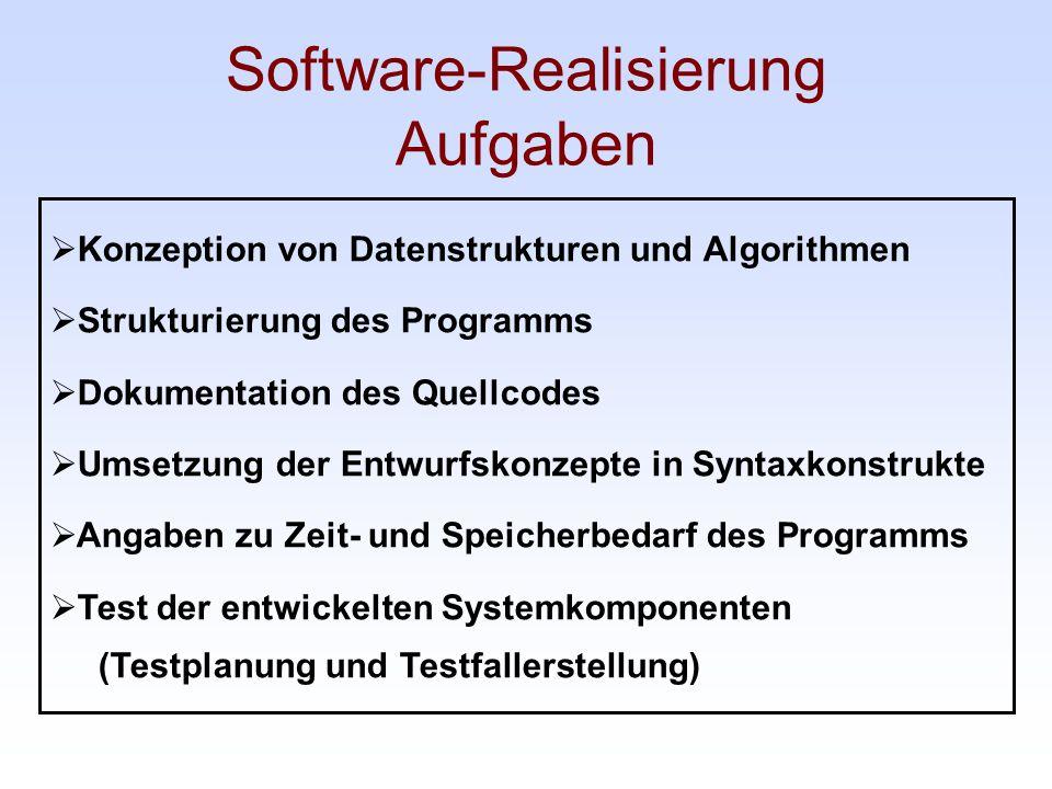 Software-Realisierung Aufgaben