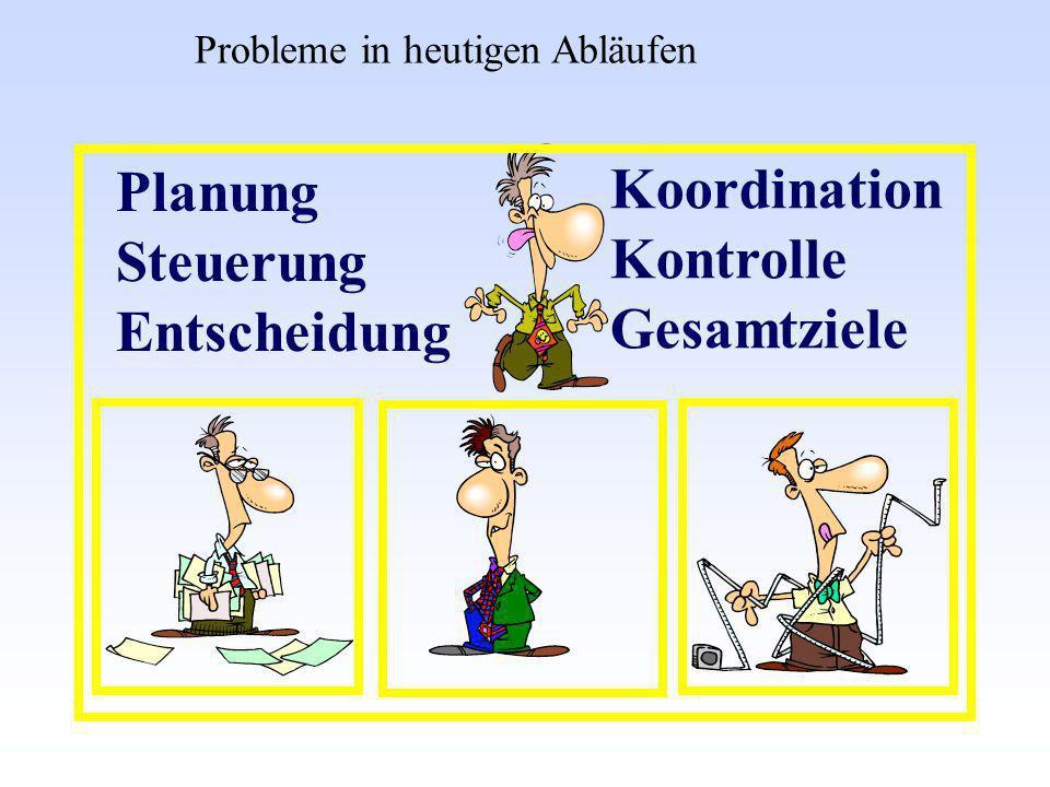 Planung Koordination Steuerung Kontrolle Entscheidung Gesamtziele