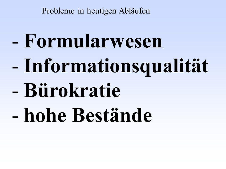 Informationsqualität Bürokratie hohe Bestände