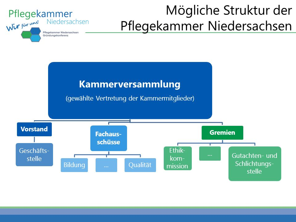 Mögliche Struktur der Pflegekammer Niedersachsen