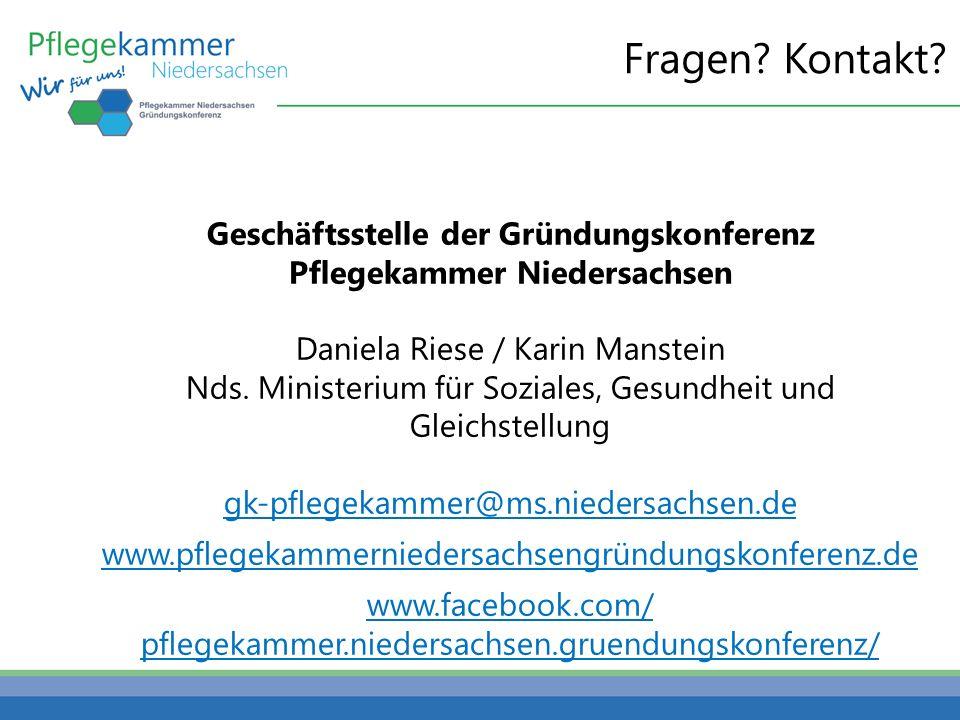 Geschäftsstelle der Gründungskonferenz Pflegekammer Niedersachsen