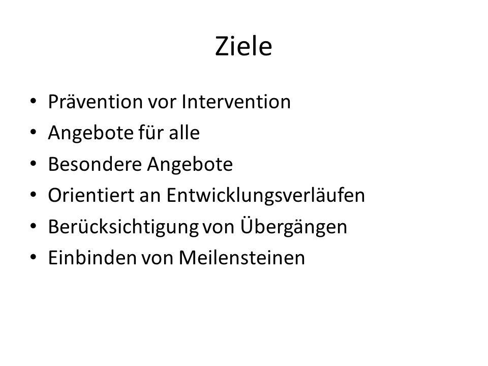 Ziele Prävention vor Intervention Angebote für alle Besondere Angebote