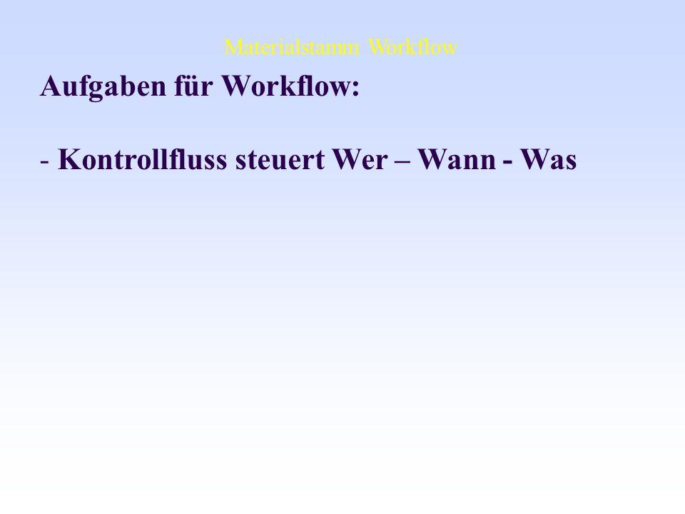 Aufgaben für Workflow: Kontrollfluss steuert Wer – Wann - Was