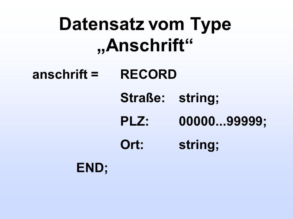 """Datensatz vom Type """"Anschrift"""