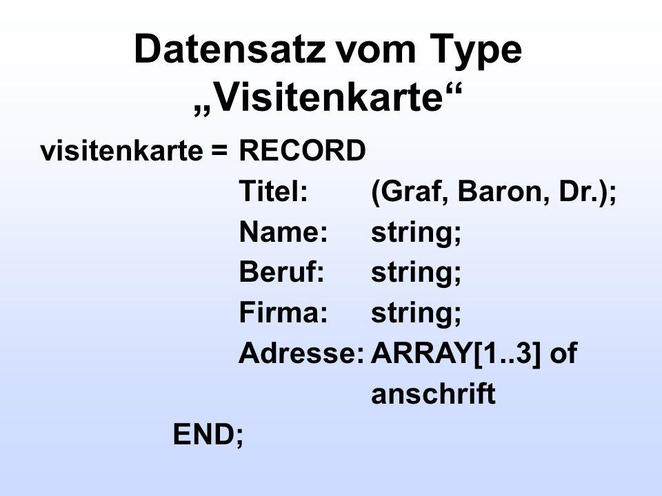 """Datensatz vom Type """"Visitenkarte"""