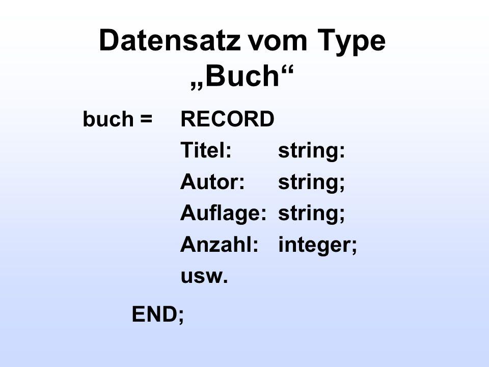 """Datensatz vom Type """"Buch"""