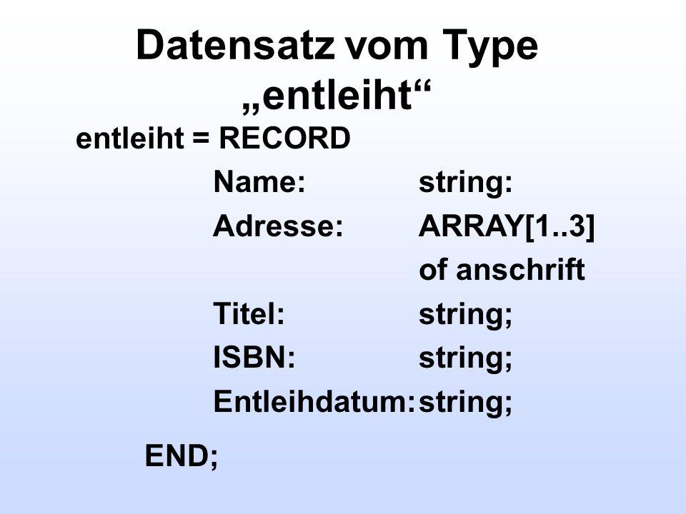 """Datensatz vom Type """"entleiht"""