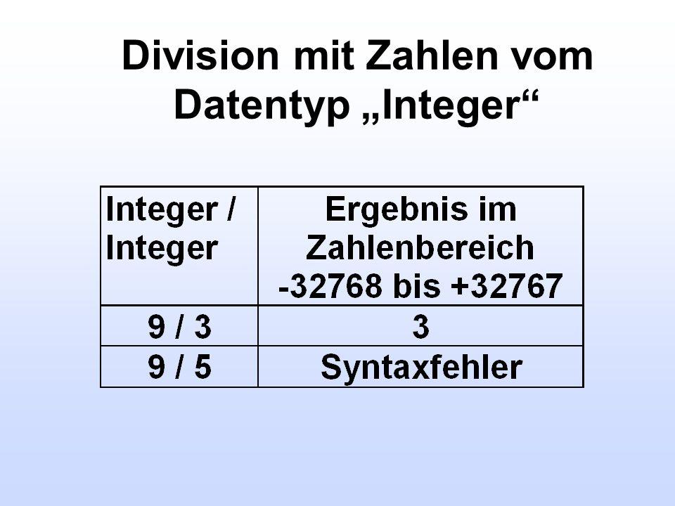 """Division mit Zahlen vom Datentyp """"Integer"""