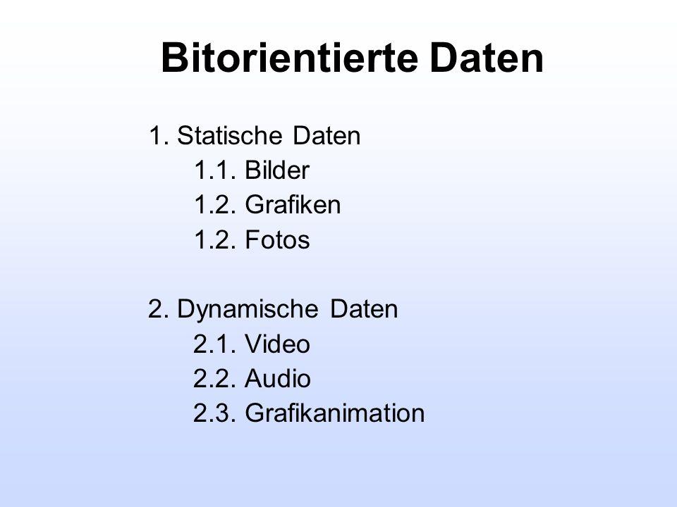 Bitorientierte Daten 1. Statische Daten 1.1. Bilder 1.2. Grafiken