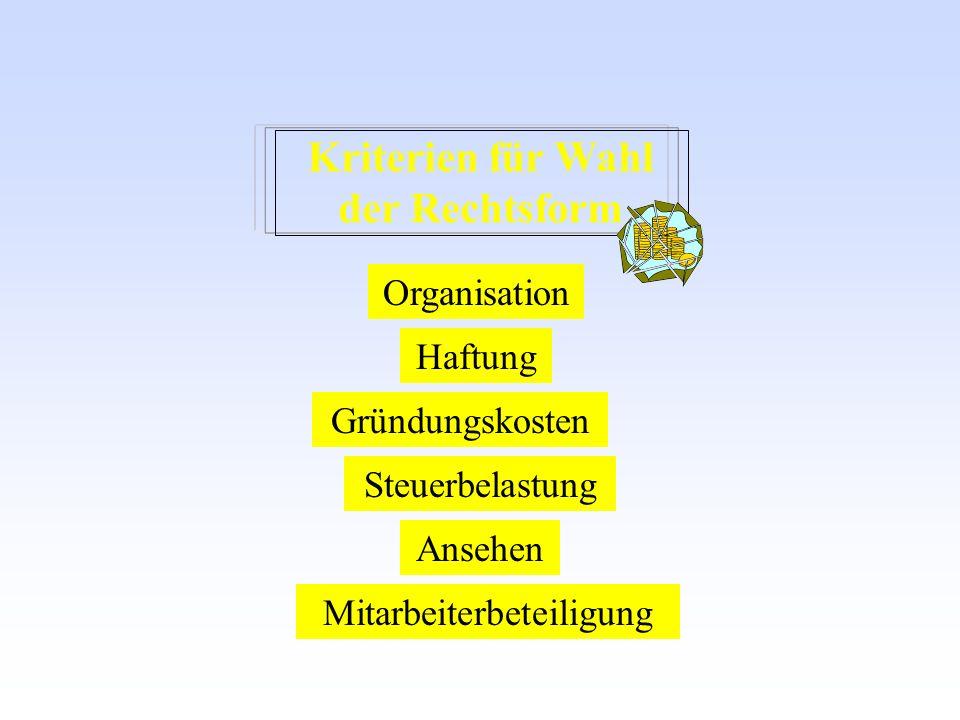 Kriterien für Wahl der Rechtsform